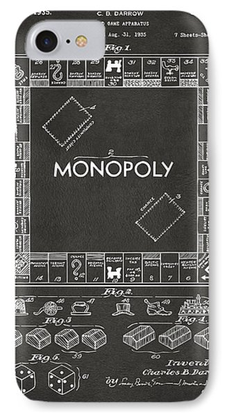 1935 Monopoly Game Board Patent Artwork - Gray IPhone Case by Nikki Marie Smith
