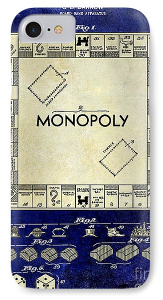 1935 Monopoly Patent Drawing 2 Tone Blue IPhone Case by Jon Neidert