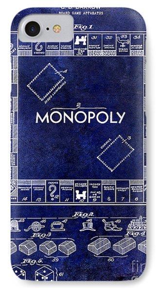 1935 Monopoly Patent Drawing Blue IPhone Case by Jon Neidert