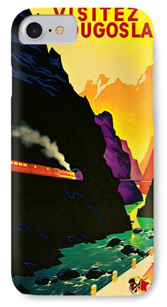 IPhone Case featuring the mixed media 1935 Visitez La Yougoslavie - Vintage Travel Art by Presented By American Classic Art