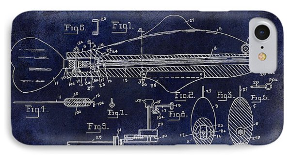 1936 Fish Toy Patent Drawing Blue IPhone Case