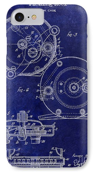1936 Fishing Reel Patent Drawing Blue IPhone Case