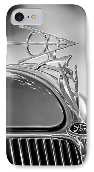 1936 Ford Deluxe Roadster Hood Ornament 2 IPhone Case by Jill Reger