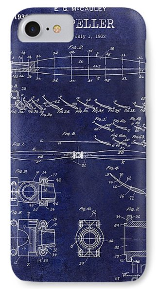 1936 Propeller Patent Drawing Blue IPhone Case by Jon Neidert