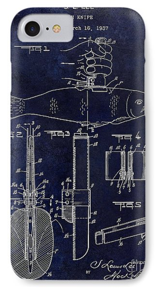 1937 Fishing Knife Patent Blue IPhone Case