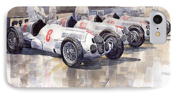 1937 Monaco Gp Team Mercedes Benz W125 IPhone Case by Yuriy  Shevchuk
