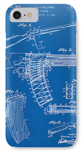 1937 Police Remington Model 8 Magazine Patent Artwork - Blueprin IPhone Case by Nikki Marie Smith