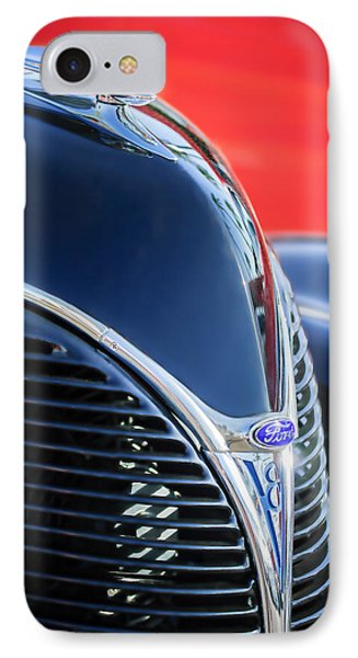 1938 Ford Hood Ornament - Grille Emblem -0089c IPhone Case by Jill Reger