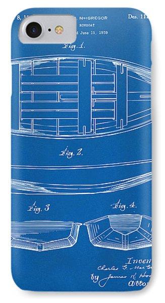 1938 Rowboat Patent Artwork - Blueprint Phone Case by Nikki Marie Smith