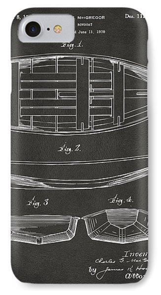 1938 Rowboat Patent Artwork - Gray Phone Case by Nikki Marie Smith