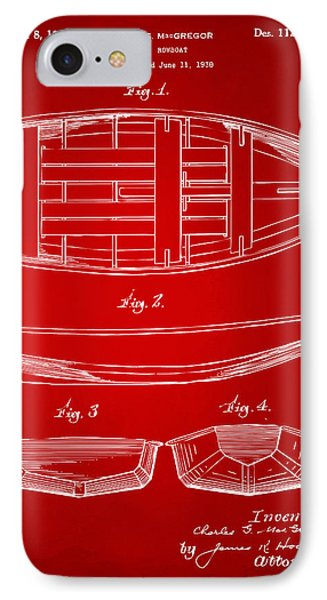 1938 Rowboat Patent Artwork - Red IPhone Case