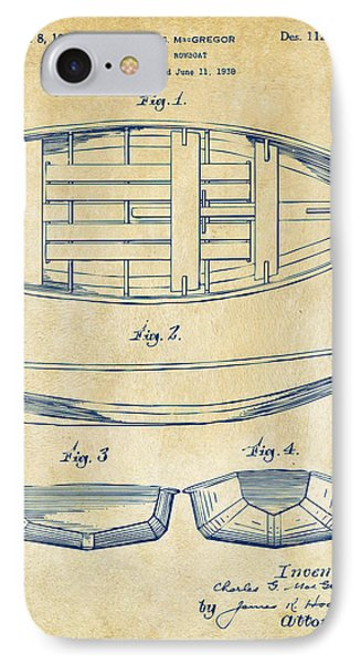 1938 Rowboat Patent Artwork - Vintage Phone Case by Nikki Marie Smith