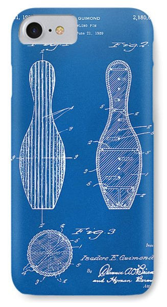 1939 Bowling Pin Patent Artwork - Blueprint IPhone Case by Nikki Marie Smith