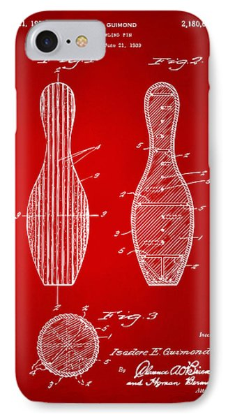 1939 Bowling Pin Patent Artwork - Red IPhone Case by Nikki Marie Smith