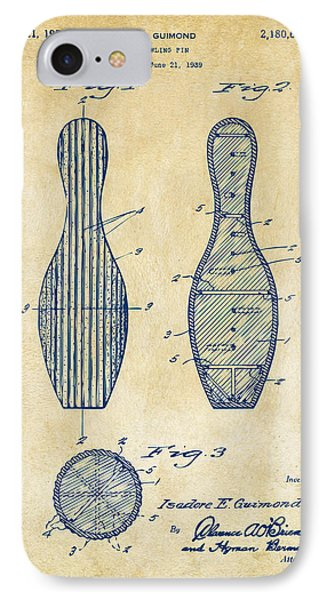 1939 Bowling Pin Patent Artwork - Vintage IPhone Case by Nikki Marie Smith