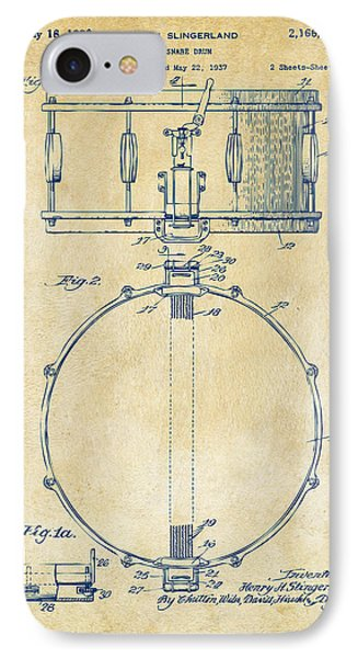 1939 Snare Drum Patent Vintage IPhone 7 Case by Nikki Marie Smith