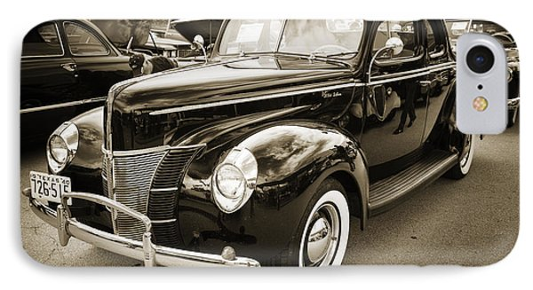 1940 Ford Classic Car Or Antique Automobile Photograph In Sepia  IPhone Case