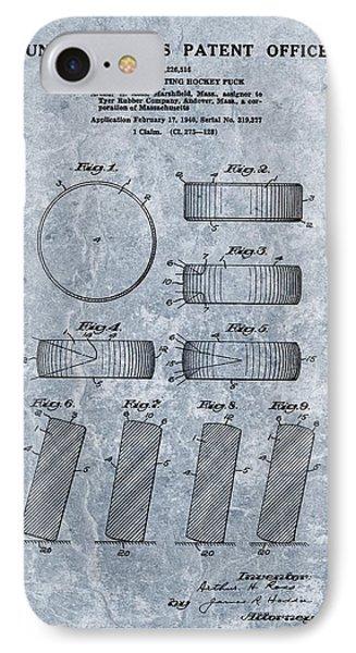1940 Hockey Puck Patent Blue IPhone Case