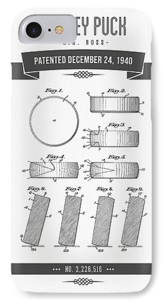 1940 Hockey Puck Patent Drawing - Retro Grey IPhone Case
