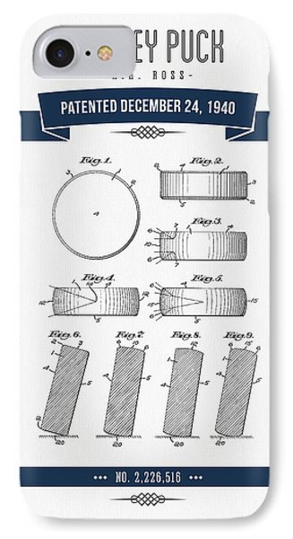 1940 Hockey Puck Patent Drawing - Retro Navy Blue IPhone Case