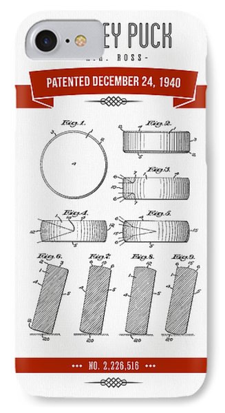 1940 Hockey Puck Patent Drawing - Retro Red IPhone Case