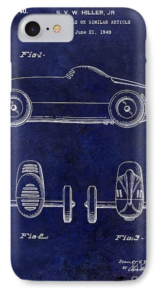 1940 Toy Car Patent Drawing Blue IPhone Case