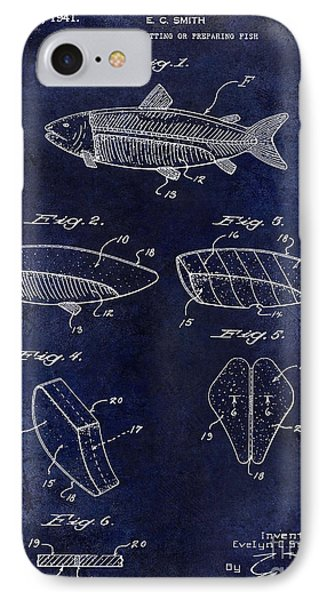 1941 Fish Cleaning Patent Patent Drawing Blue IPhone Case