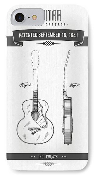 1941 Guitar Patent Drawing IPhone Case by Aged Pixel
