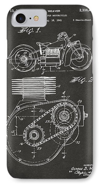 1941 Indian Motorcycle Patent Artwork - Gray IPhone Case