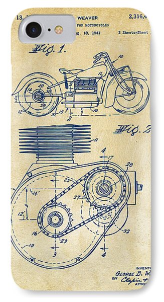 1941 Indian Motorcycle Patent Artwork - Vintage IPhone Case by Nikki Marie Smith