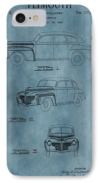 1941 Plymouth Patent Blue IPhone Case