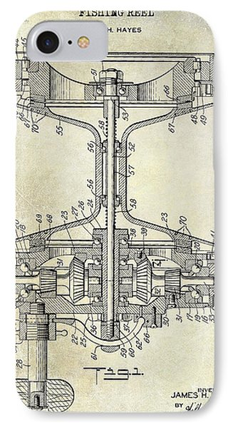 1942 Fishing Reel Patent Drawing IPhone Case