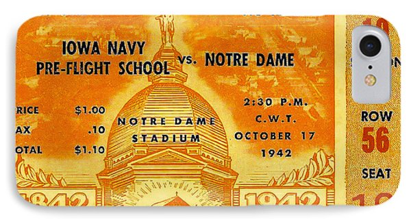 1942 Football Ticket Notre Dame Vs Iowa Navy Pre-flight IPhone Case by David Patterson