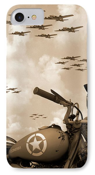 Motorcycle iPhone 7 Case - 1942 Indian 841 - B-17 Flying Fortress' by Mike McGlothlen