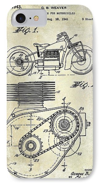 1943 Indian Motorcycle Patent Drawing IPhone Case by Jon Neidert