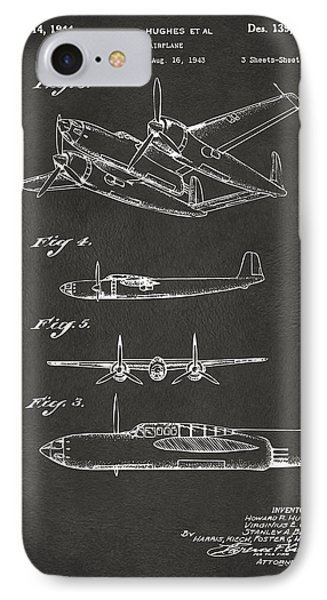1944 Howard Hughes Airplane Patent Artwork 2 - Gray IPhone Case