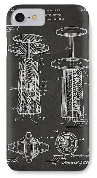 1944 Wine Corkscrew Patent Artwork - Gray IPhone Case by Nikki Marie Smith