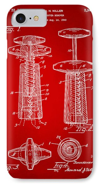 1944 Wine Corkscrew Patent Artwork - Red IPhone Case by Nikki Marie Smith