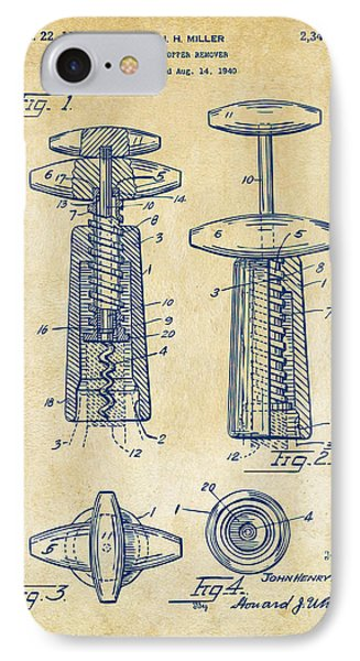1944 Wine Corkscrew Patent Artwork - Vintage IPhone Case by Nikki Marie Smith