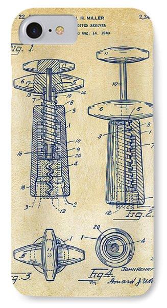 1944 Wine Corkscrew Patent Artwork - Vintage IPhone Case by Nikki Marie Smith