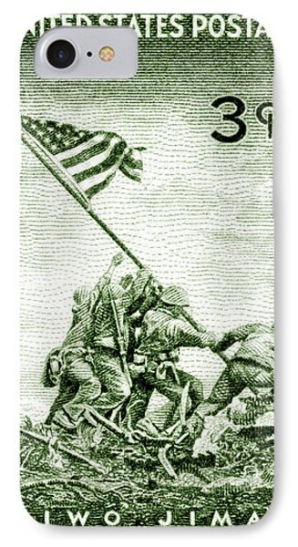 1945 Marines On Iwo Jima Stamp IPhone Case by Historic Image