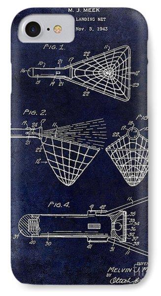 1947 Fishing Net Patent Drawing Blue IPhone Case by Jon Neidert