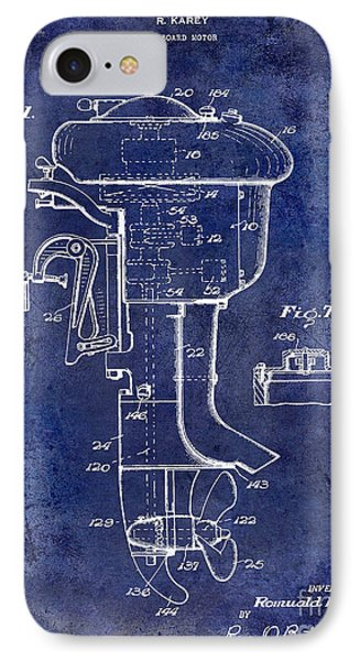 1947 Outboard Motor Patent Drawing Blue IPhone Case by Jon Neidert