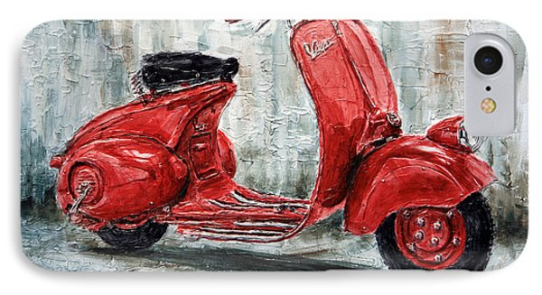 1947 Vespa 98 Scooter IPhone Case by Joey Agbayani