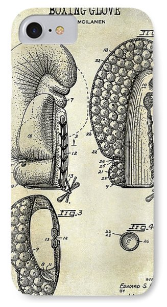 1948 Boxing Glove Patent Drawing IPhone Case by Jon Neidert