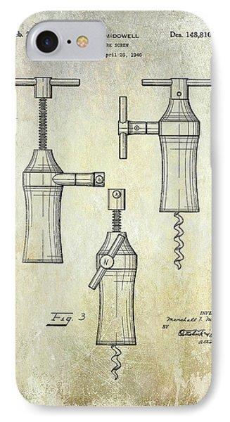 1948 Corkscrew Patent Drawing IPhone Case by Jon Neidert