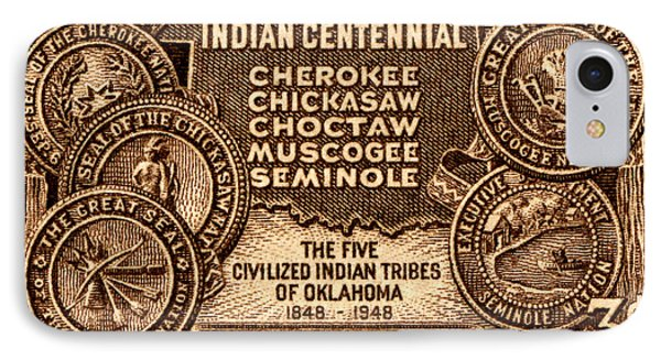 1948 Oklahoma Indian Centennial Stamp  IPhone Case by Historic Image