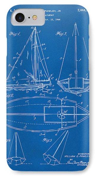 1948 Sailboat Patent Artwork - Blueprint Phone Case by Nikki Marie Smith