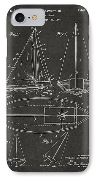 1948 Sailboat Patent Artwork - Gray Phone Case by Nikki Marie Smith