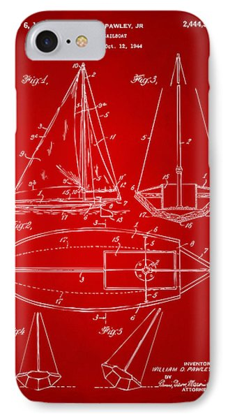 1948 Sailboat Patent Artwork - Red Phone Case by Nikki Marie Smith